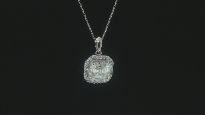 Moissanite 14K white gold Pendant 4.18ctw DEW