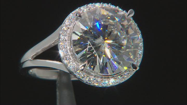 Moissanite 14K white gold ring 9.07ctw DEW.
