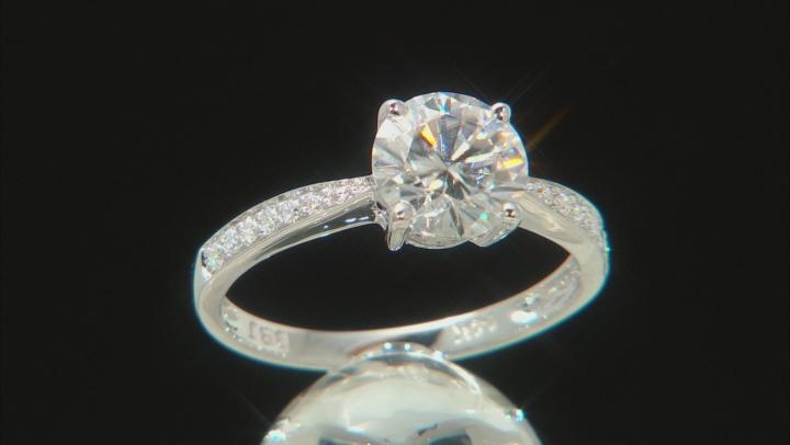 Moissanite 14k White Gold Ring 1.62ctw DEW