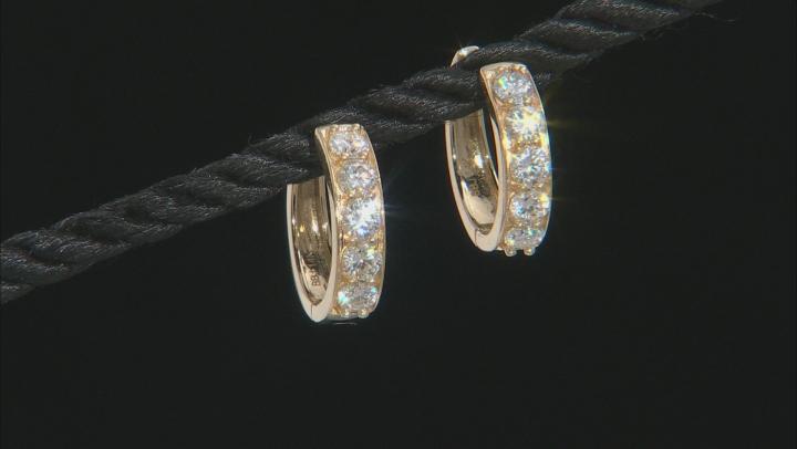 Moissanite 14k yellow gold hoop earrings 1.00ctw DEW.