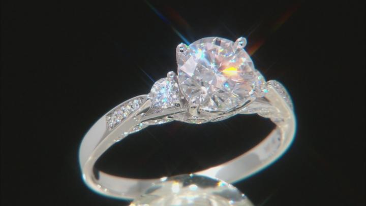 Moissanite 14k White Gold Ring 1.98ctw DEW.