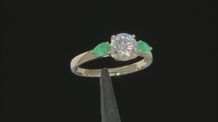 Moissanite and Zambian emerald 14k yellow gold ring set 1.39ctw DEW.