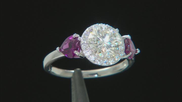 Moissanite And Grape Garnet 14k White Gold Ring 1.70ctw DEW.
