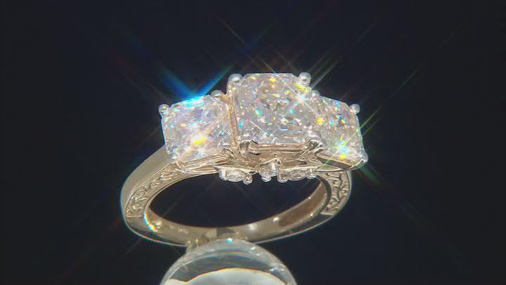 Moissanite 10k Yellow Gold Ring 6.20ctw DEW.