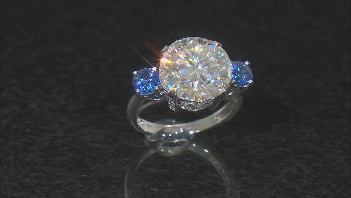 Moissanite and tanzanite 14k white gold ring 8.19ctw DEW.