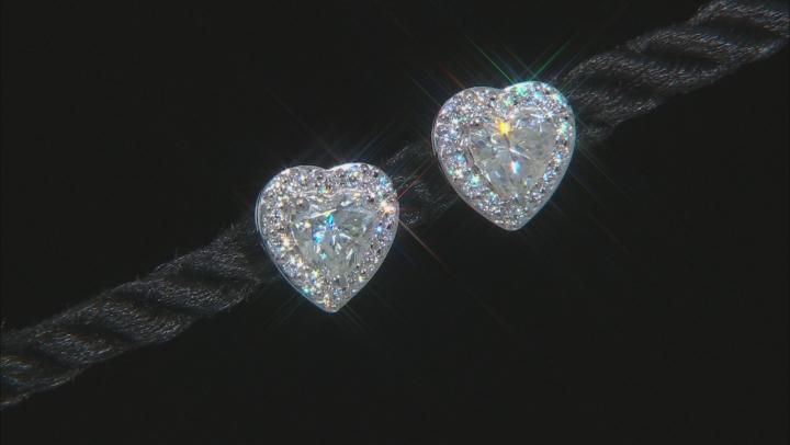 Moissanite 10k white gold earrings 1.48ctw DEW.