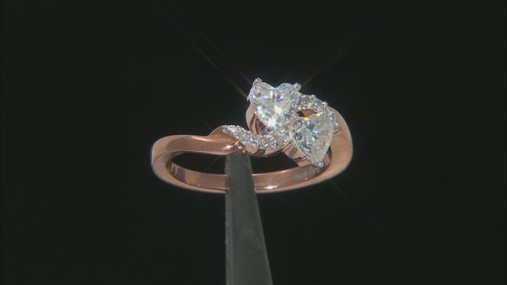 Moissanite Ring 14k Rose Gold Over Sterling Silver 1.20ctw DEW