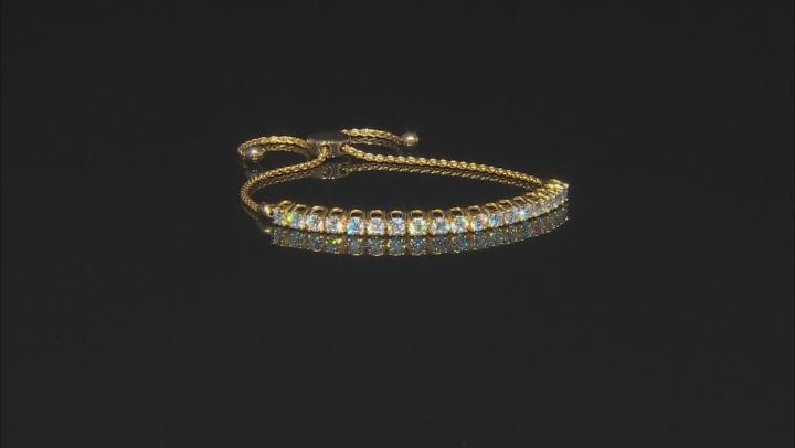 Moissanite Ajustable Bracelet 14k Yellow Gold Over Silver 2.88ctw DEW