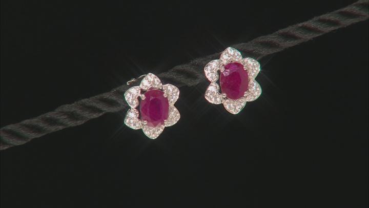 Red Ruby 10k White Gold Earrings 3.28ctw