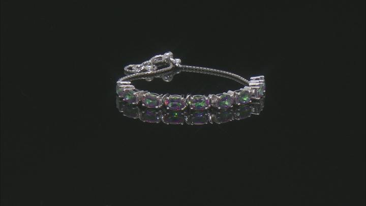 Mystic Fire(R) Green Topaz Rhodium Over Silver Bolo Bracelet 8.10ctw