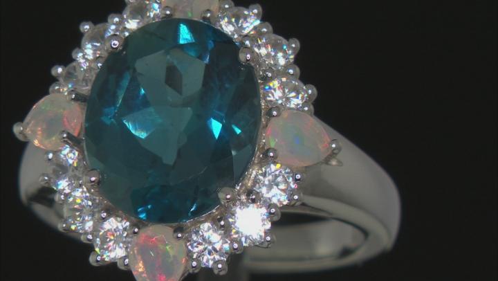 London Blue Topaz Rhodium Over Silver Ring 6.43ctw