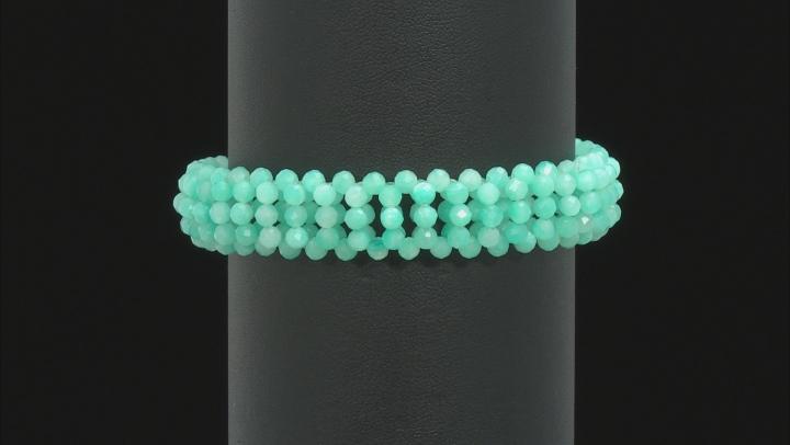 Green Amazonite Bead Stretch Bracelet