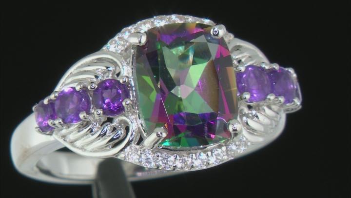 Green Mystic Topaz  Rhodium Over Silver Ring 3.62ctw