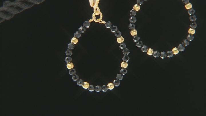 Black spinel 18K yellow gold over sterling silver dangle earrings