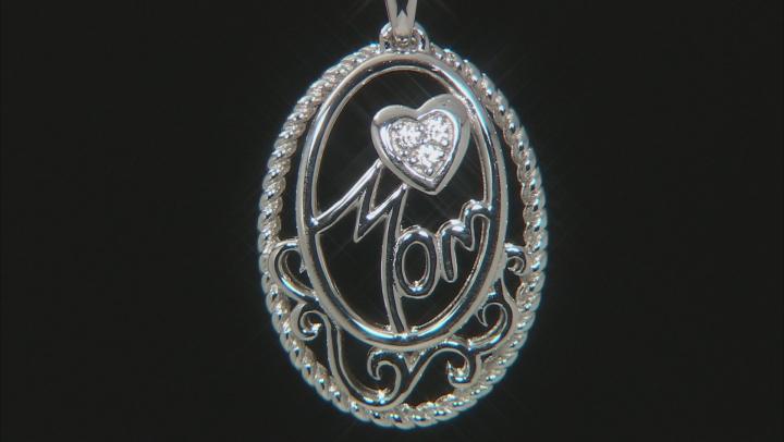 "White Zircon Rhodium Over Silver ""Mom"" Pendant With Chain .05ctw"
