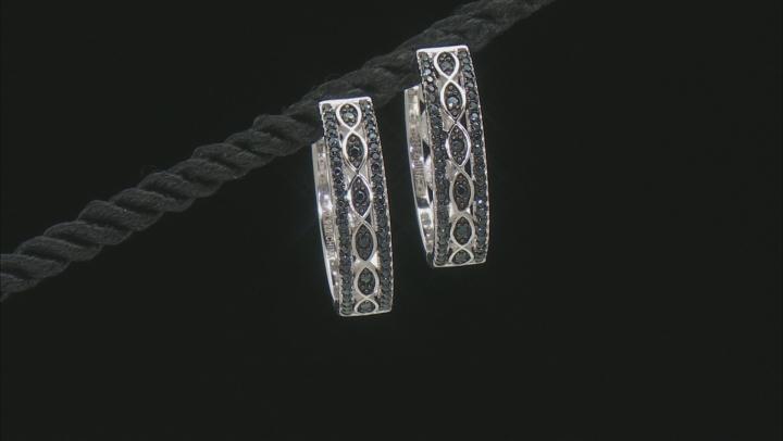 Black spinel Rhodium Over Sterling Silver Hoop Earrings 4.43ctw