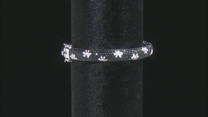 Black Spinel Rhodium Over Sterling Silver Bangle bracelet 3.47ctw