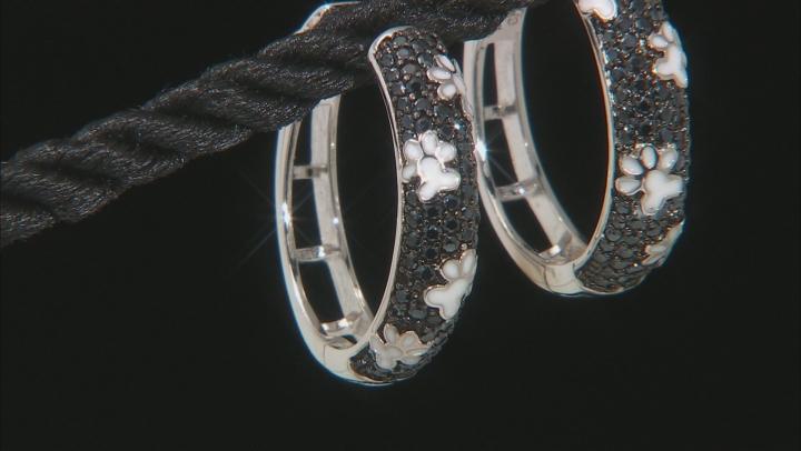 Black Spinel Rhodium Over Sterling Silver Hoop Earrings 1.02ctw