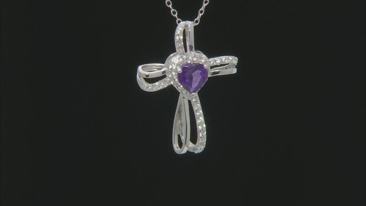 Purple Amethyst  Rhodium Over Silver Cross Pendant with Chain 1.08ctw