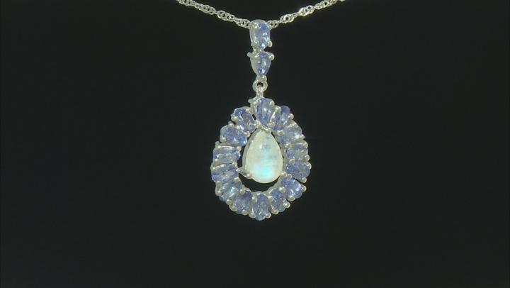 White Rainbow Moonstone Rhodium Over Silver Pendant With Chain 2.41ctw