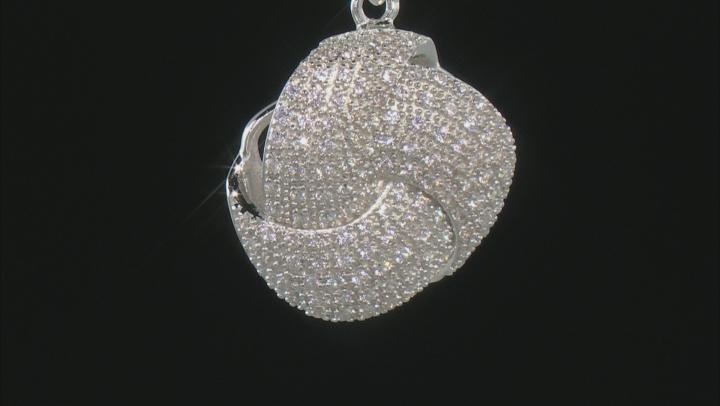 White Zircon Rhodium Over Silver Pendant With Chain .77ctw