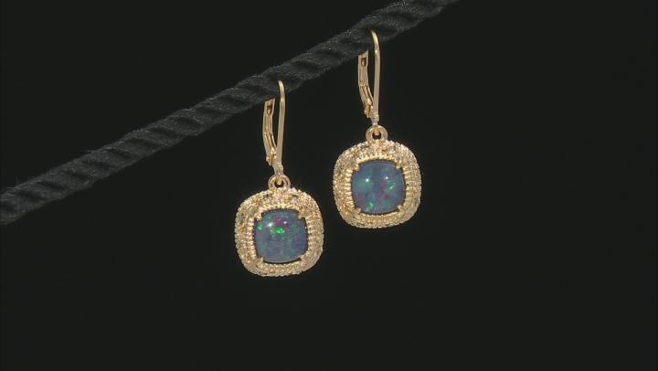 Multi-Color Australian Opal Triplet 18k Gold Over Silver Earrings