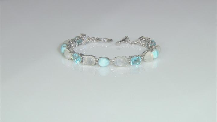 Multi-Color Multi-gemstones Rhodium Over Sterling Silver Tennis Bracelet 7.16ctw