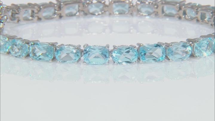 Blue Topaz Rhodium Over Sterling Silver Bracelet 22.78ctw