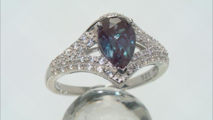 Blue Lab Created Alexandrite Rhodium Over Silver Ring 1.45ctw