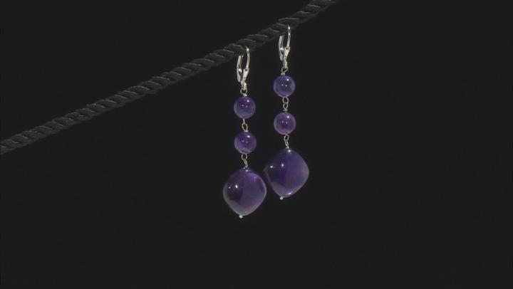 Purple Amethyst Rhodium Over Sterling Silver Earrings set of 3