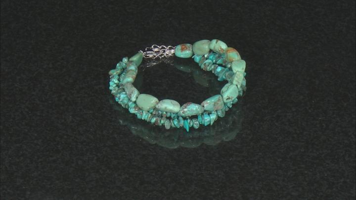 Blue Turquoise Rhodium Over Sterling Silver 3-Strand Bracelet