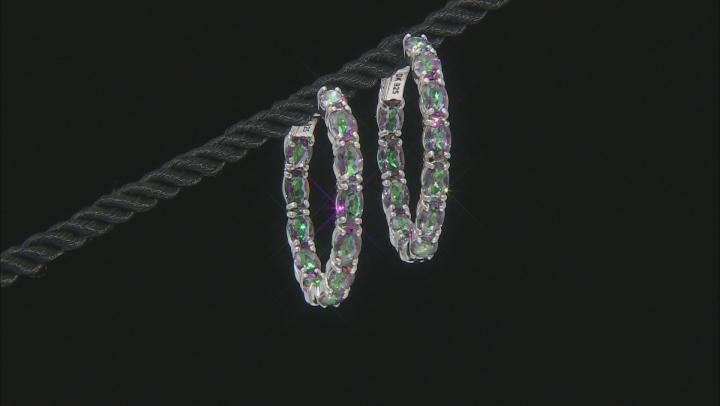 Multi-color Quartz Rhodium Over Silver Inside/Outside Hoop Earrings 8.65ctw