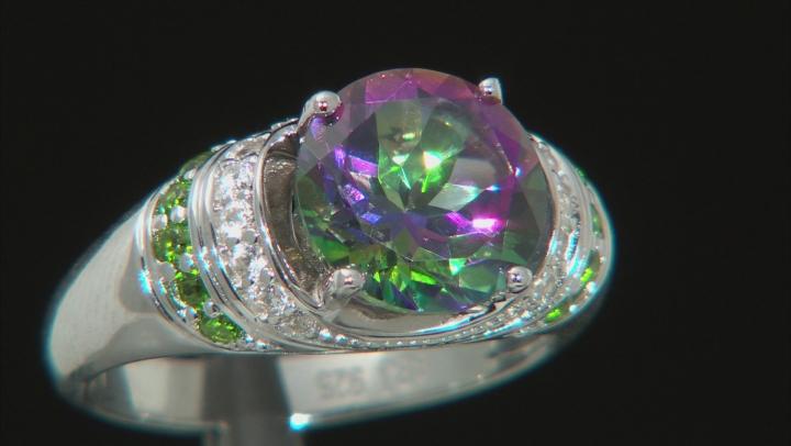 Green Mystic Topaz(R) Topaz Rhodium Over Silver Ring 4.11ctw