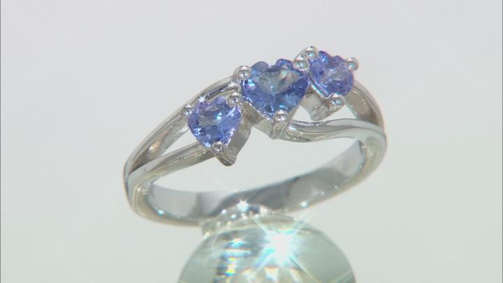 Blue Tanzanite Rhodium Over Sterling Silver 3-Stone Ring .75ctw