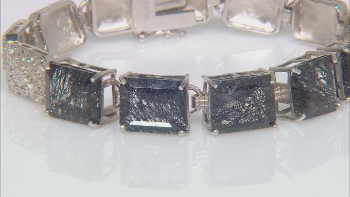 Black Tourmalinated Quartz Rhodium Over Sterling Silver Bracelet 25.50ctw