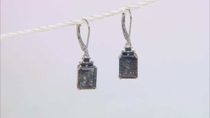 Black Tourmalinated Quartz Rhodium Over Silver Earrings 5.95ctw