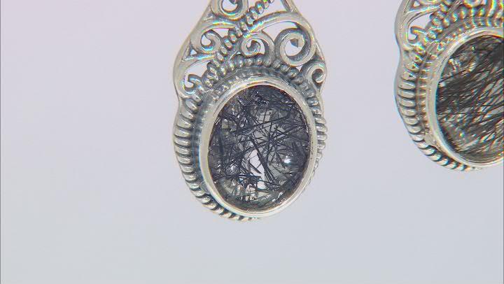 Black Tourmalinated Quartz Rhodium Over Silver Earrings 4.25ctw