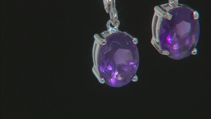 Purple Amethyst Rhodium Over Sterling Silver Dangle Earrings 2.72ctw