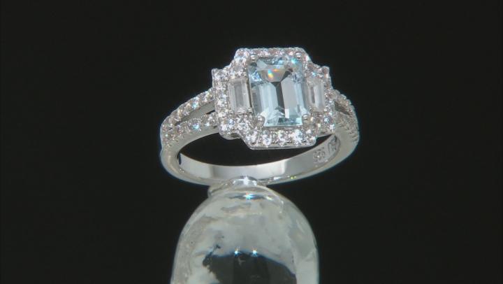 Blue Aquamarine Rhodium Over Sterling Silver Ring 2.12ctw