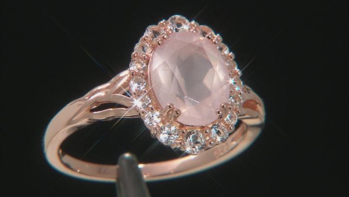 Pink Rose Quartz 18k Rose Gold Over Silver Ring .54ctw