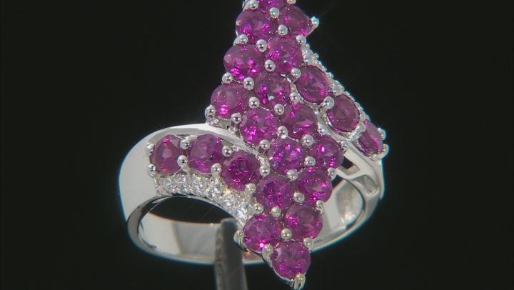 Purple Rhodolite Rhodium Over Sterling Silver Ring 2.97ctw