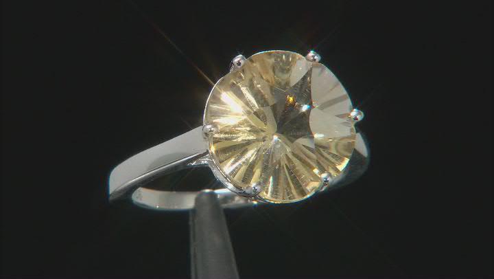 Yellow Canary Quartz Rhodium Over Silver Solitiare Ring 4.51ct