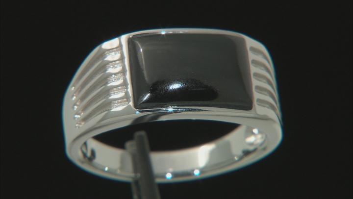 Black Spinel Rhodium Over 10k White Gold Mens Ring 3.34ct