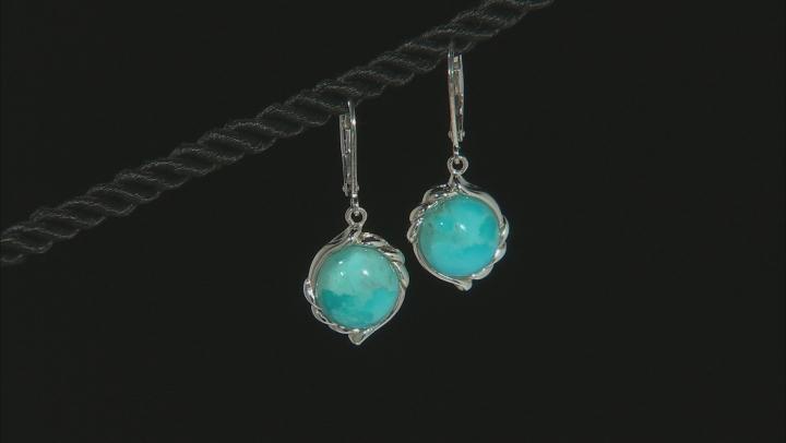 Blue Turquoise Sterling Silver Dangle Earrings