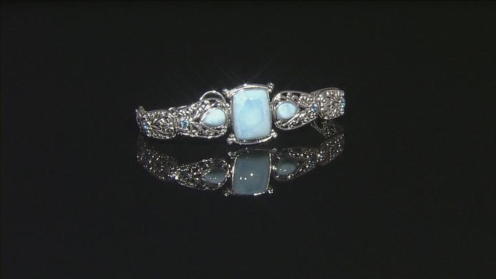 Blue Larimar Sterling Silver Adjustable Bracelet .49ctw