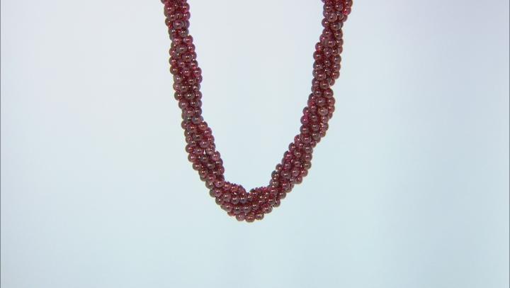 Red garnet Bead Sterling Silver Torsade Necklace 270.00ctw