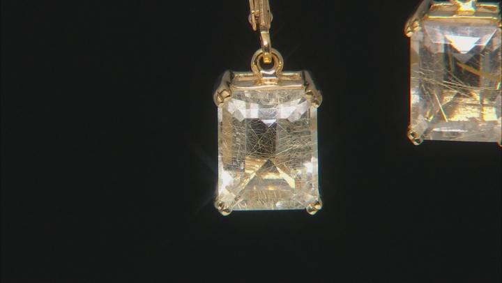 Golden Rutilated Quartz 18k Yellow Gold Over Sterling Silver Dangle Earrings 4.84ctw