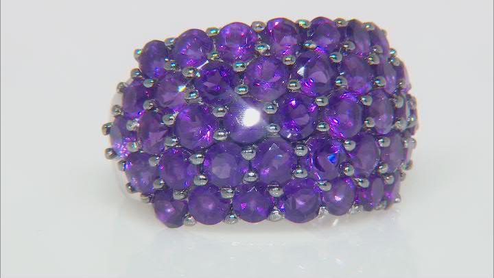 Purple Amethyst Rhodium Over Silver Band Ring 5.76ctw