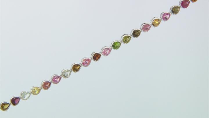 Multi-Tourmaline Rhodium Over Sterling Silver Tennis Bracelet 6.65ctw