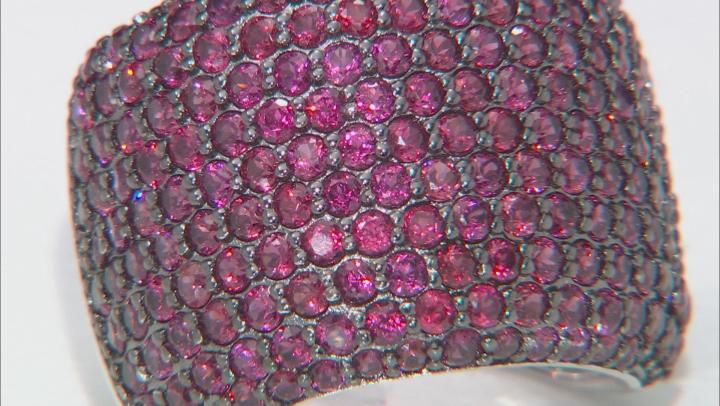 Raspberry Color Rhodolite Rhodium Over Silver Ring 3.74ctw